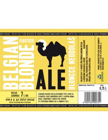 Etiketa Purkmistr Belgian Blonde 0,75 L