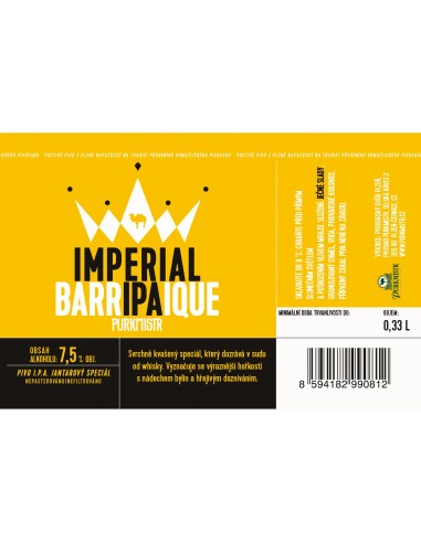 Etiketa Purkmistr Imperial Barrique Ipa 0,33 L